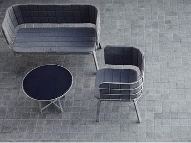 Low glass and steel garden side table GRID | Coffee table