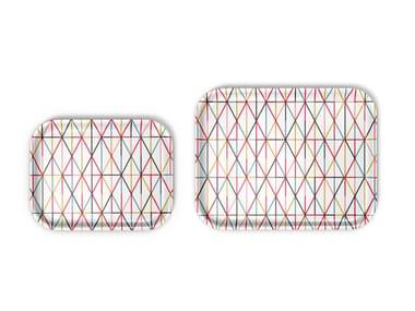 Rectangular laminate tray GRID MULTICOLOUR