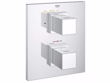 Wall-mounted thermostatic bathtub mixer GROHTHERM CUBE | Bathtub mixer with plate