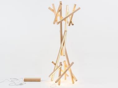 Lampada da terra a LED in legno GROOT