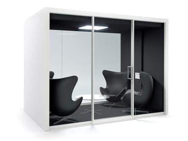 Acoustic multimedia office booth with built-in lights GROUPSPACE L