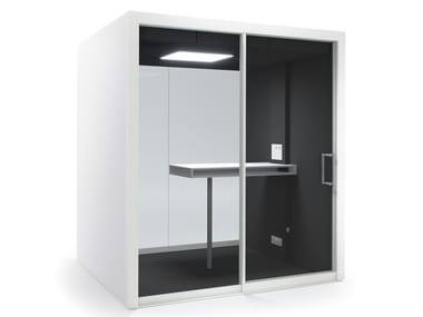 Acoustic multimedia office booth with built-in lights GROUPSPACE M