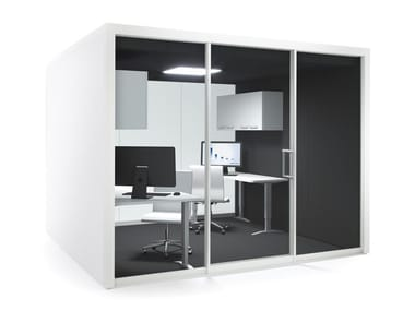Acoustic multimedia meeting pod with built-in lights GROUPSPACE XL