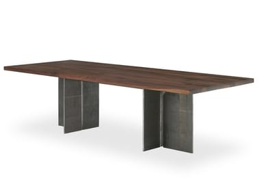 Rectangular wooden iron table GUALTIERO