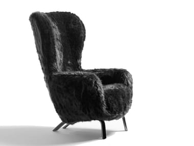 Bergere high-back fake fur armchair GUELFO FUR LIMITED EDITION | Armchair