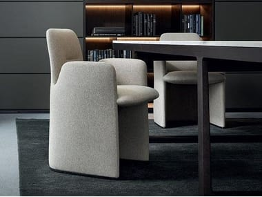 Upholstered fabric chair with armrests GUEST