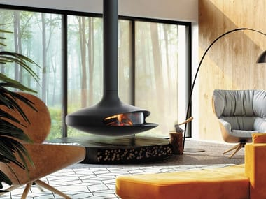 Wood-burning hanging fireplace in steel with closing glass GYROFOCUS GLAZED