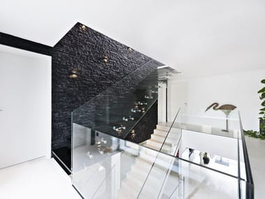 Straight glass cantilevered staircase Glass cantilevered staircase