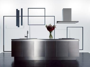 Cucina in acciaio inox senza maniglie GRAD45 | Cucina