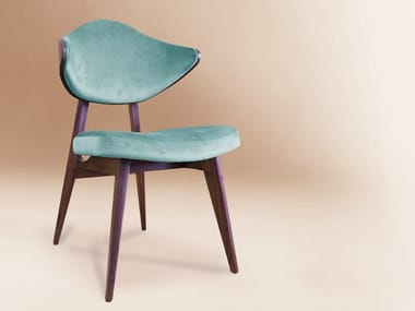 Velvet chair and wooden structure H | Chair