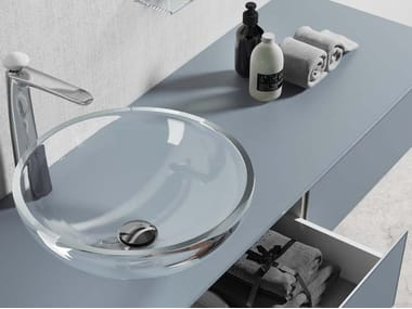 Countertop round glass washbasin H24 | Washbasin