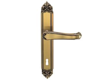 Poignée de porte en laiton sur plaque H914/8 MEDICEA | Poignée de porte