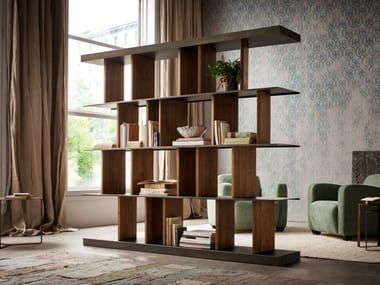 Double face bookshelf with revolving wooden partitions HAKKASAN