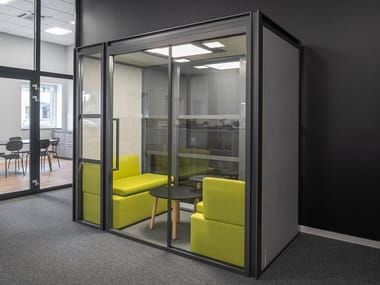 Acoustic glass office booth with built-in lights HAKO HK08
