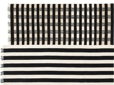 Handmade striped wool rug HALFSTRIPE