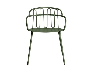 Garden metal easy chair with armrests HALL