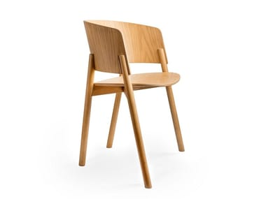 Solid wood chair with armrests HALLA