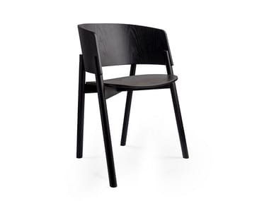 Lacquered solid wood chair with armrests HALLA | Lacquered chair