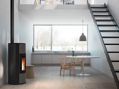 Pellet powder coated steel stove HALO
