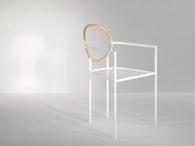Sedia impilabile in alluminio con braccioli HALO