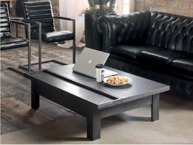 Solid wood coffee table with tray for living room HANDY | Coffee table