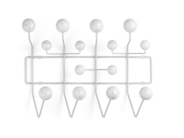 Wall-mounted coated steel wire and Carrara marble coat rack HANG IT ALL MARBLE