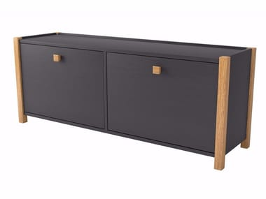 Melamine-faced chipboard bench / shoe cabinet HANNOVER | Lacquered shoe cabinet