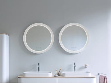 Round wall-mounted mirror set with integrated lighting HAPPY D.2 PLUS | Bathroom mirror