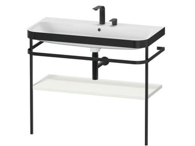 Console ceramic washbasin with towel rail HAPPY D.2 PLUS | Console washbasin