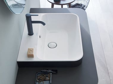 Rectangular washbasin with overflow HAPPY D.2 PLUS | Washbasin with overflow