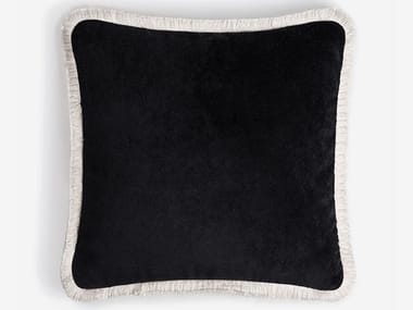 Solid-color velvet cushion with removable cover HAPPY FRAME