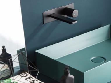 Wall-mounted single handle washbasin mixer with plate HAPTIC | Single handle washbasin mixer