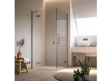 Corner crystal shower cabin with hinged door HARLEM VB+VB