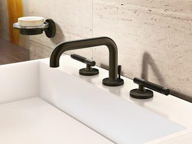 3 hole countertop washbasin tap with pop up waste HARLEY | 3 hole washbasin tap