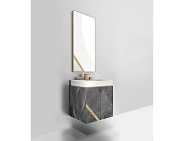 Wall-mounted marble vanity unit with drawers HARMONY | Wall-mounted vanity unit