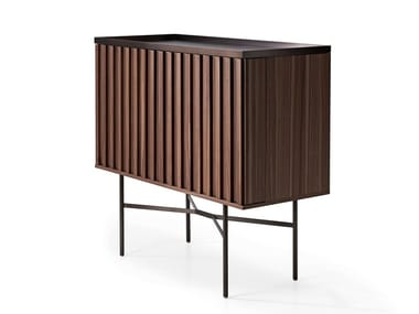 Walnut bar cabinet with integrated lighting HARRI | Bar cabinet