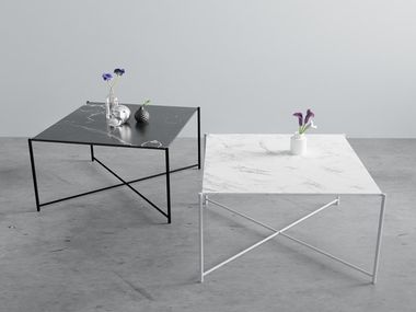 Square coffee table made of marble and steel HARRY