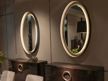 Wall-mounted framed metal mirror with integrated lighting HAUSSMANN | Mirror