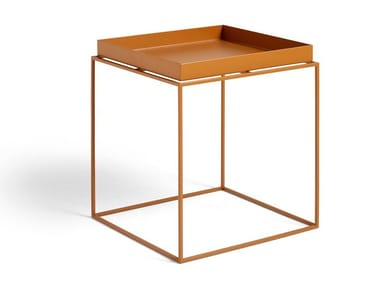 Square steel side table with tray HAY - TRAY TABLE M TOFFEE