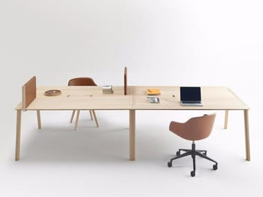 Rectangular oak meeting table with cable management HELDU | Meeting table with cable management