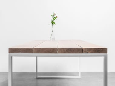 Rectangular dining table made of solid oak wood and steel HELEN