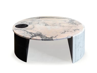Low round marble coffee table HELENE | Low coffee table