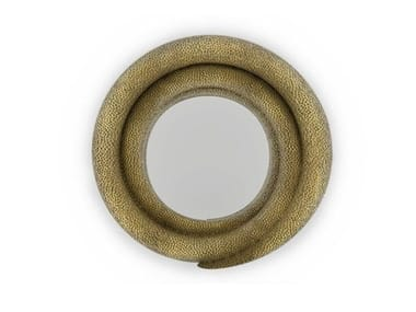 Round wall-mounted framed mirror HELIX | Wall-mounted mirror
