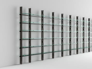 Sectional wood and glass bookcase HEMINGWAY