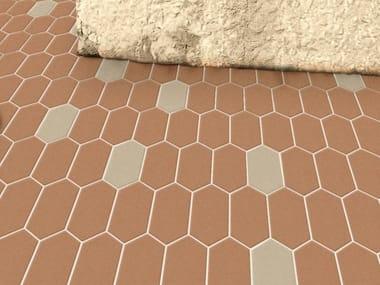 Indoor/outdoor full-body porcelain stoneware flooring HEX - LOZENGE