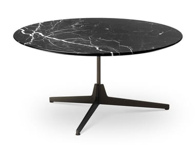 Round marble coffee table with 3-star base HEXA | Round coffee table