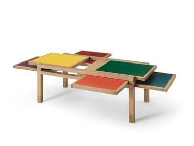 Low solid wood coffee table HEXA