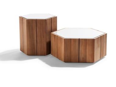 Hexagonal garden side table HEXAGON | Garden side table