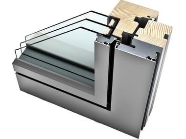 Finestra a battente in alluminio e legno con triplo vetro HF 310