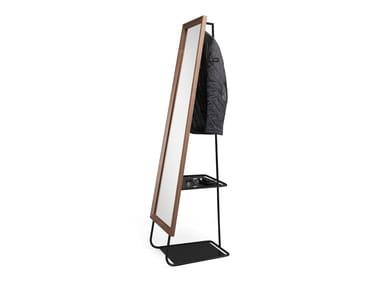 Steel and wood mirror / coat rack HIDE&SEEK